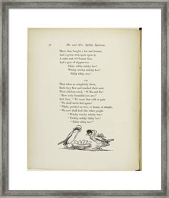 Mr And Mrs Sparrow With Baby Sparrows Framed Print by British Library