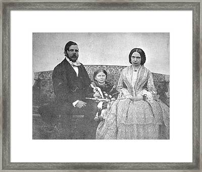 Mr And Mrs Thornhill With Their Daughter Framed Print by British Library