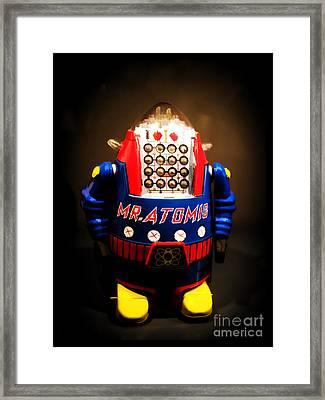 Mr. Atomic Tin Robot Framed Print