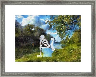 Mr Bones Fishing Photo Art 01 Framed Print