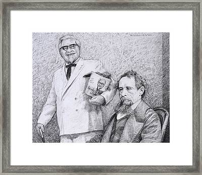 Mr Chicken And Mr Dickens Framed Print by James W Johnson