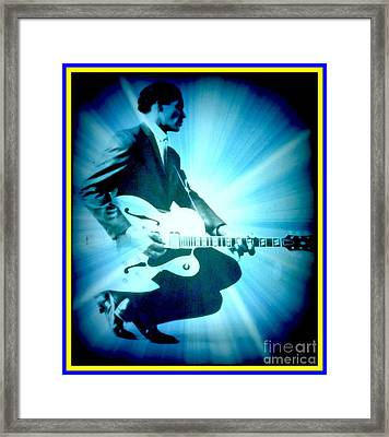 Mr Chuck Berry Blueberry Hill Style Edited Framed Print by Kelly Awad