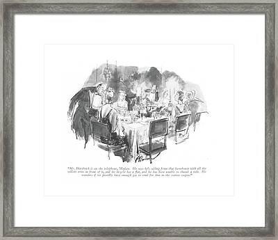Mr. Hardwick Is On The Telephone Framed Print by Perry Barlow