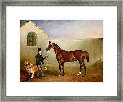 Mr Meakin Holding Sir Robert Peels Chestnut Hunter With His Dogs Hector And Jem Framed Print by John E Ferneley