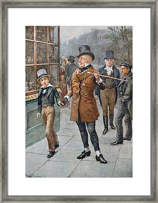 Mr Micawber Conducts David Home, Illustration From Character Sketches From Dickens Compiled By B.w Framed Print