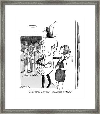 Mr. Peanut Tries To Pick Up A Woman At A Cocktail Framed Print
