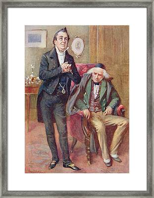 Mr Pecksniff And Old Martin Chuzzlewit, Illustration For Character Sketches From Dickens Compiled Framed Print