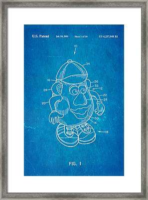 Mr Potato Head Patent Art 2001 Blueprint Framed Print
