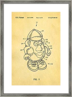 Mr Potato Head Patent Art 2001 Framed Print by Ian Monk