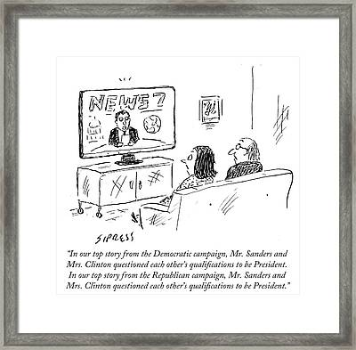 Mr Sanders And Mrs Clinton Questioned Each Framed Print