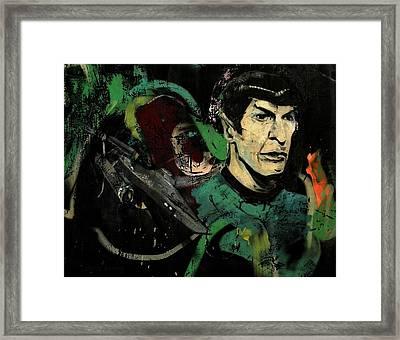 Mr Spock In Urban Mural Framed Print by Chris Berry