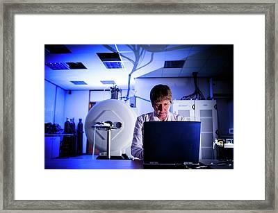 Mri Scanning Research Framed Print