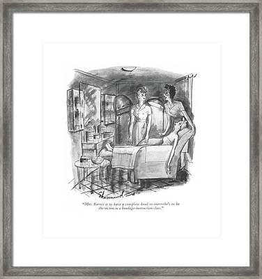 Mrs. Barnes Is To Have A Complete Head-to-toe - Framed Print by Barbara Shermund