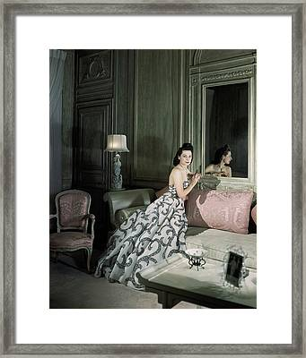 Mrs. Byron C. Foy Wearing A Dress Framed Print