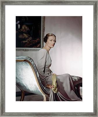 Mrs. Cameron Clark Sitting On A Chaise Lounge Framed Print by Horst P. Horst