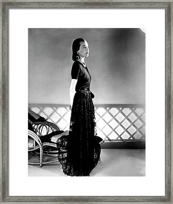 Mrs. Carroll Carstairs Wearing A Lace Skirt Framed Print by Horst P. Horst