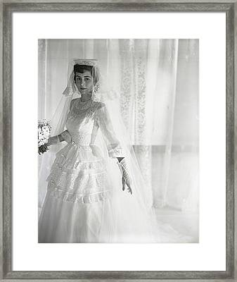 Mrs. Chance Vought Wearing A Wedding Gown Framed Print by Horst P. Horst