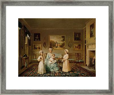 Mrs Congreve And Her Children In Their London Drawing Room, 1782 Oil On Canvas Framed Print by Philip Reinagle