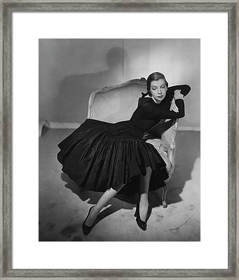 Mrs. Fairfax Potter Wearing A Taffeta Dress Framed Print by Horst P. Horst