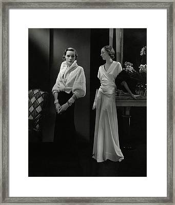 Mrs. Francis A. Wyman Wearing An Ermine Jacket Framed Print by Edward Steichen
