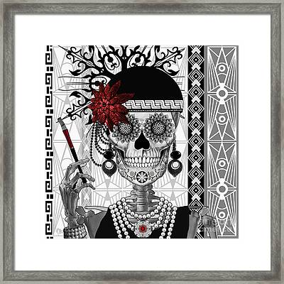 Mrs. Gloria Vanderbone - Day Of The Dead 1920's Flapper Girl Sugar Skull - Copyrighted Framed Print by Christopher Beikmann
