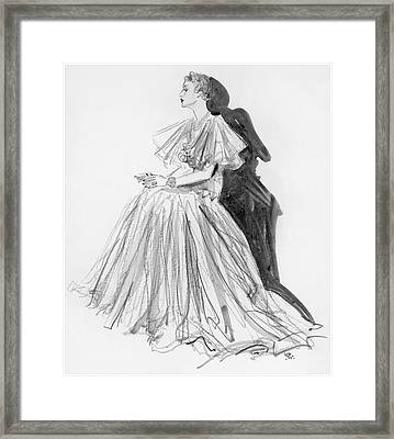 Mrs. Jay O'brian Wearing A Grey Tulle Dress Framed Print