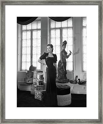 Mrs. John C. Wilson Wearing A Dinner Dress Framed Print by Horst P. Horst