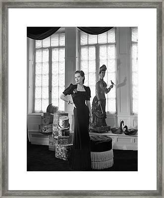 Mrs. John C. Wilson Wearing A Dinner Dress Framed Print