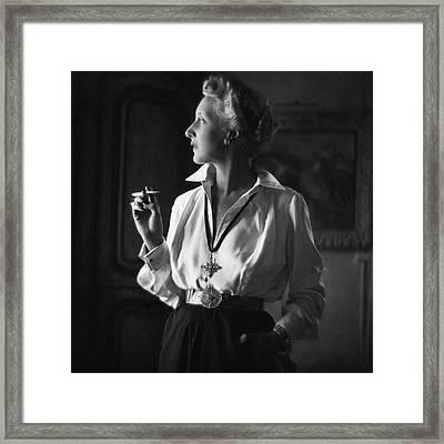 Mrs. John Rawlings Smoking Framed Print