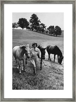 Mrs John West On Her Farm At Malvern Framed Print by Toni Frissell