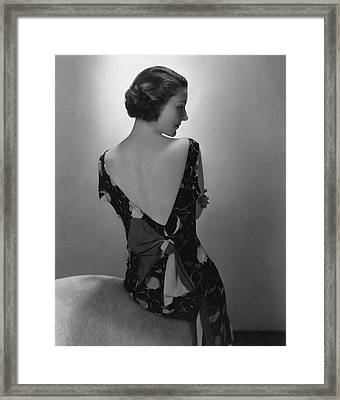 Mrs. Jules Glaenzer Wearing A Crepe Dress Framed Print by Edward Steichen