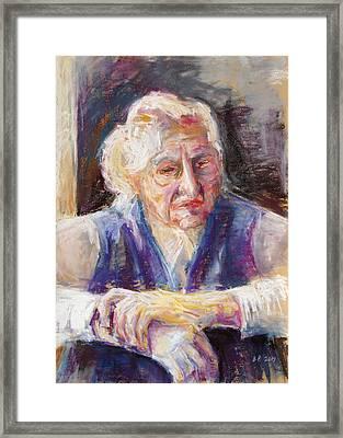Mrs K. Remembering Framed Print by Barbara Pommerenke