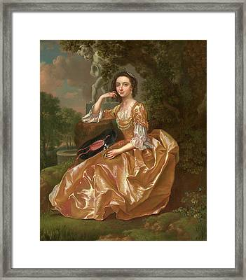 Mrs. Mary Chauncey A Young Woman Signed And Dated In Yellow Framed Print by Litz Collection