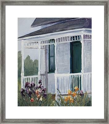 Mrs. Milner's Irises Framed Print by Mary Giacomini