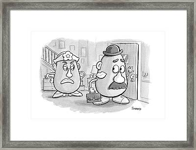 Mrs. Potato Head Casts A Dirty Look Framed Print