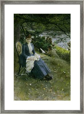 Mrs Symons In Scotland Framed Print by Anders Zorn