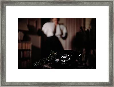 Mrs. Tyron Behind A Telephone Framed Print