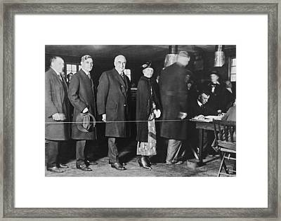 Mrs. Warren Harding Voting Framed Print by Underwood Archives