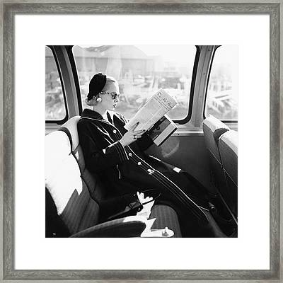 Mrs. William Mcmanus Reading On A Train Framed Print by Leombruno-Bodi