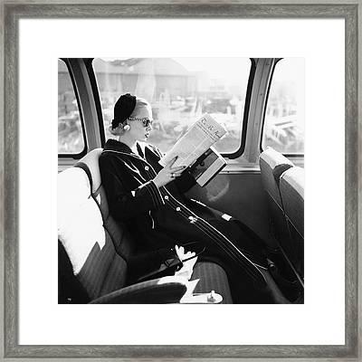 Mrs. William Mcmanus Reading On A Train Framed Print