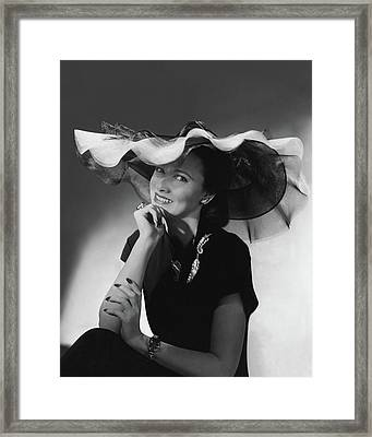 Mrs. Willis Hunt Wearing A Lilly Dache Hat Framed Print