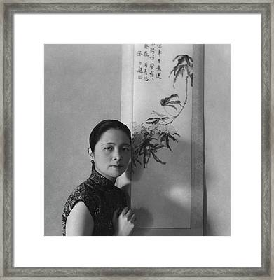 Mrs. Wu Kuo-cheng Posing By Calligraphy Art Framed Print by Cecil Beaton