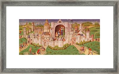View Of A City With Laborers Paving Roads Leading Up To The City Gates With Cobbles Framed Print by French School
