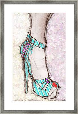 Ms. Cindy's Blue Shoe Framed Print by Carolyn Weltman
