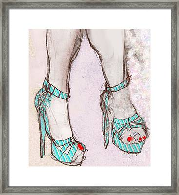 Ms. Cindy's Blue Shoes Framed Print