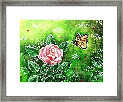 Ms. Monarch And Her Ladybug Friends Framed Print by Shana Rowe Jackson