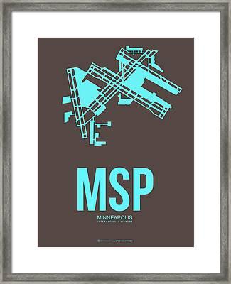 Msp Minneapolis Airport Poster 1 Framed Print by Naxart Studio