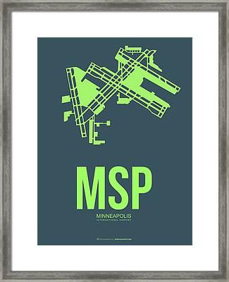Msp Minneapolis Airport Poster 2 Framed Print by Naxart Studio