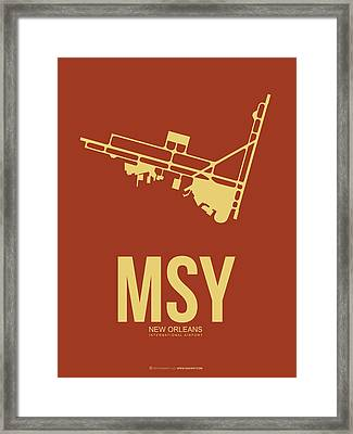 Msy New Orleans Airport Poster 1 Framed Print by Naxart Studio