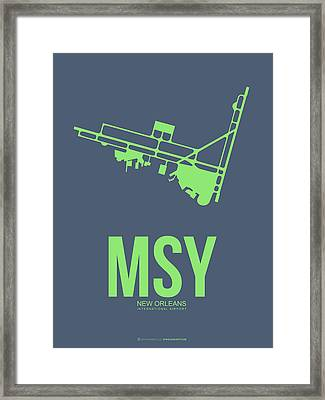 Msy New Orleans Airport Poster 2 Framed Print by Naxart Studio